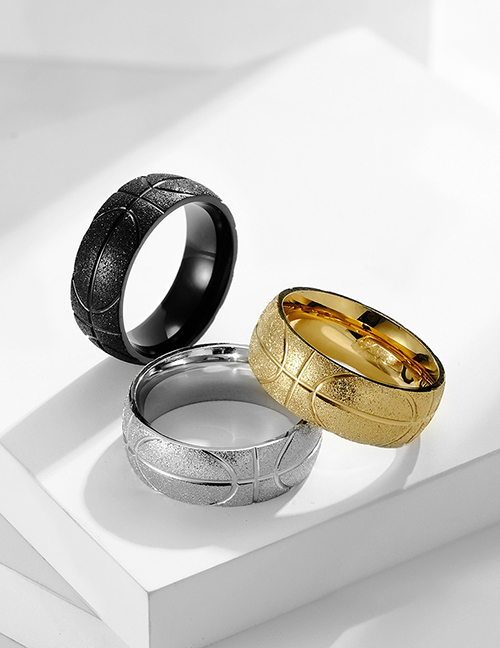 Fashion Steel Color Frosted Stainless Steel Basketball Engraving Ring