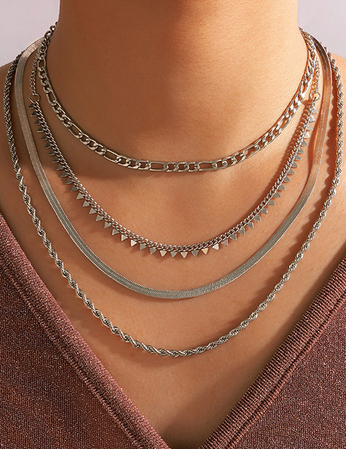 Fashion Silver Alloy Snake Bone Chain Multilayer Chain Necklace