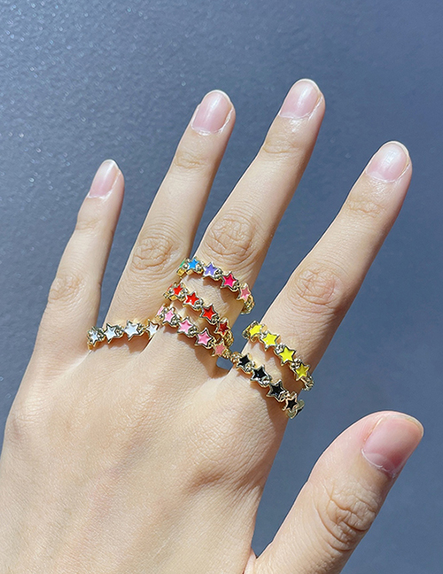 Fashion Yellow Copper Drop Oil Five-pointed Star Ring