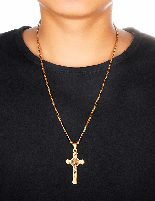 Fashion Gold (with Picture Chain) Stainless Steel Cross Jesus Necklace