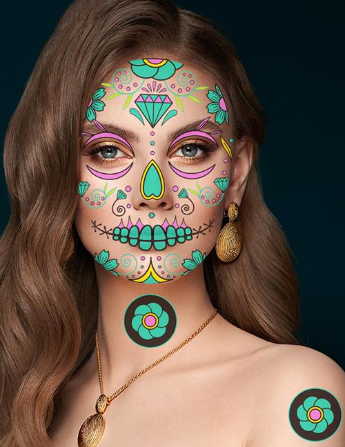 Etiquetas Engomadas Luminosas Del Tatuaje Del Cráneo De Halloween