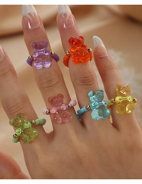 Fashion Suit Resin Beaded Bear Ring Set