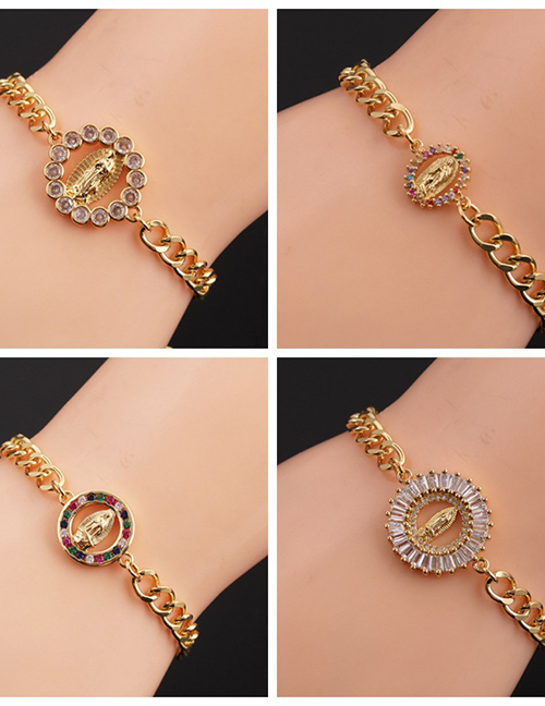 Fashion 3# Bronze Plated Real Gold Color With Zirconium Virgin Mary Bracelet