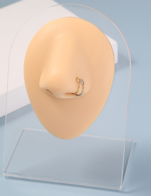 Fashion Gold Color+color Stainless Steel Piercing Nose Nail Combination