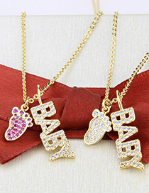 Fashion Gold-plated White Zirconium Feet Gold-plated Cats Claw Pendant Necklace With Zircon Letters