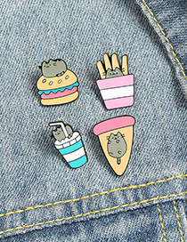 Fashion Pizza Alloy Black Cat Pizza Fries Burger Drink Dripping Alloy Brooch