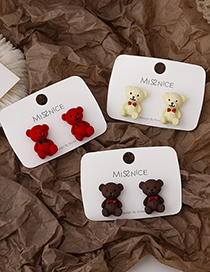 Fashion Red Bow Bear Three-dimensional Earrings