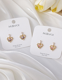 Fashion Pink Edged Lace Love Heart Micro-inlaid Zircon Earrings