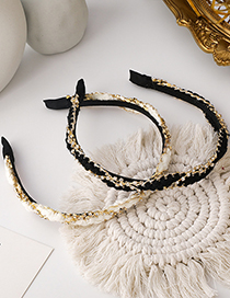 Fashion White Plush Diamond-studded Woven Fabric Hair Band