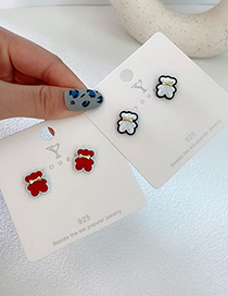 Fashion White Bear Alloy Bow Earrings