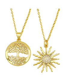 Fashion Sun Flower Sun Flower Tree Of Life Diamond-plated Copper Necklace
