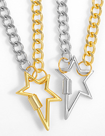 Fashion Golden Cuban Chain Irregular Five-pointed Star Pendant Necklace