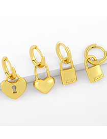 Fashion Lock Lock Head Asymmetric Love Copper Gold-plated Earrings