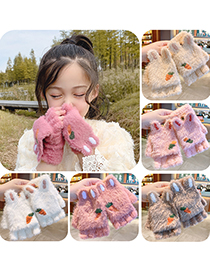 Fashion Dark Brown Antlers [5-12 Years Old] Plush Thickened Clamshell Fruit Embroidery Children Gloves