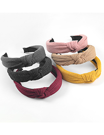 Fashion Yellow Solid Color Cotton Fabric Wide-brim Knotted Headband