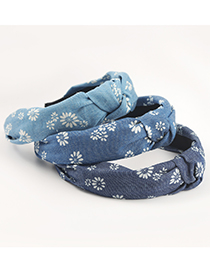 Fashion Light Blue Small Daisy Printed Fabric Wide-sided Knotted Headband