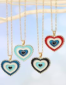 Fashion Red Drop Oil Wave Love Alloy Necklace