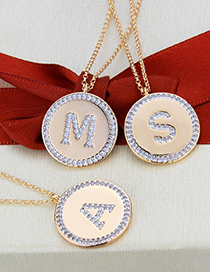 Fashion Gold-plated White Zirconium A Flat Inlaid Zirconium Letters Round Gold-plated Pendant Necklace