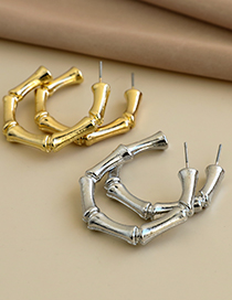 Fashion Gold Color Alloy Bead Section C Line Earrings