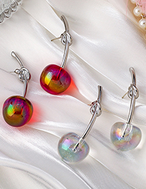 Fashion White Cherry Alloy Knotted Earrings