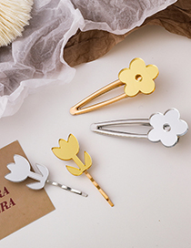 Fashion Word Clip (gold Color) Mirror Flower Alloy Geometric Hairpin