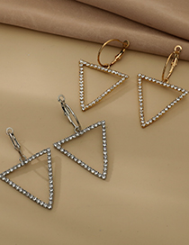 Fashion Gold Color Alloy Diamond Hollow Triangle Stud Earrings