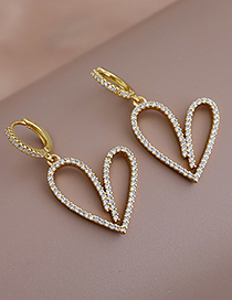 Fashion Golden Copper Inlaid Zircon Heart Earrings