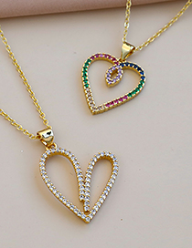 Fashion Color Copper Inlaid Zircon Heart Necklace