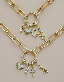 Fashion Golden Copper Inlaid Zircon Palm Heart Necklace