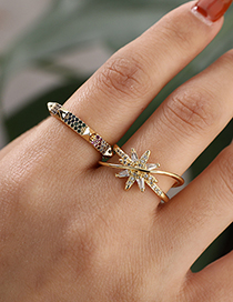 Fashion Golden Copper Inlaid Zircon Rivet Ring