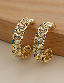 Fashion Color Copper Inlaid Zircon Heart Earrings