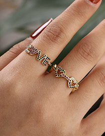 Fashion Color Copper Inlaid Zircon Letter Love Ring