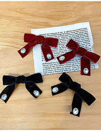 Fashion Red Plaid Bow And Diamond Hairpin