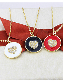 Fashion Gilded White Round Oil Drop Gold-plated Zirconium Heart Pendant Necklace