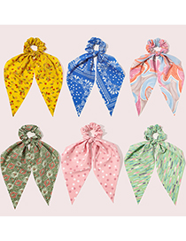 Fashion Floral-malachite Green Triangular Ribbon Printed Fabric Large Intestine Loop Hair Rope