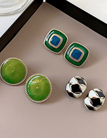 Fashion Round Geometric Drip Glaze Color Matching Alloy Earrings