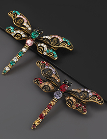 Fashion Red Purple Alloy Diamond Dragonfly Brooch