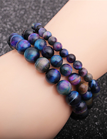 Fashion 6mm Tiger Eye Tiger Eye Stone Beaded Elastic Bracelet