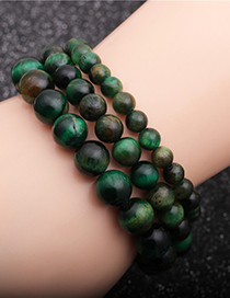 Fashion 6mm Green Tiger Eye Tiger Eye Stone Stretch Beaded Bracelet