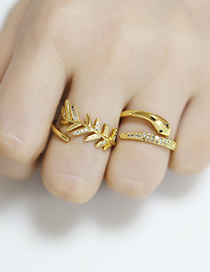 Fashion Leaves Snake-shaped Leaf Diamond-set Open Copper And Gold-plated Ring