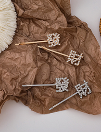 Fashion Golden Fa Cai Diamond Alloy Hollow Hairpin