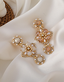 Fashion Orange Pearl Crystal Flower Alloy Hairpin