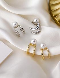 Fashion Golden Metal Pearl Double Circle Arc Earrings