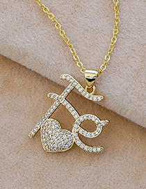 Fashion Golden Copper Inlaid Zircon Letters Fe Love Necklace