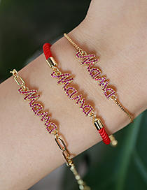 Fashion Red Copper Inlaid Zircon Letters Mama Braided Rope Bracelet