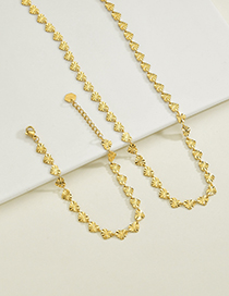 Fashion Heart Necklace Heart Shaped Rice Chain Stainless Steel 18k Gold Textured Bracelet Necklace