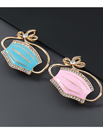 Fashion Pink Alloy Drop Oil Diamond Mask Brooch