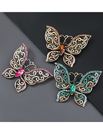 Fashion Green Alloy Encrusted Butterfly Hollow Brooch