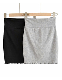 Fashion Black Solid Color High Waist Slim Fit Hip Skirt With Wooden Ears