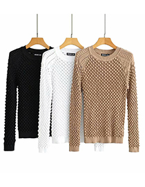 Fashion White Heavy Industry Three-dimensional Jacquard Crocheted Round Neck Sweater Sweater